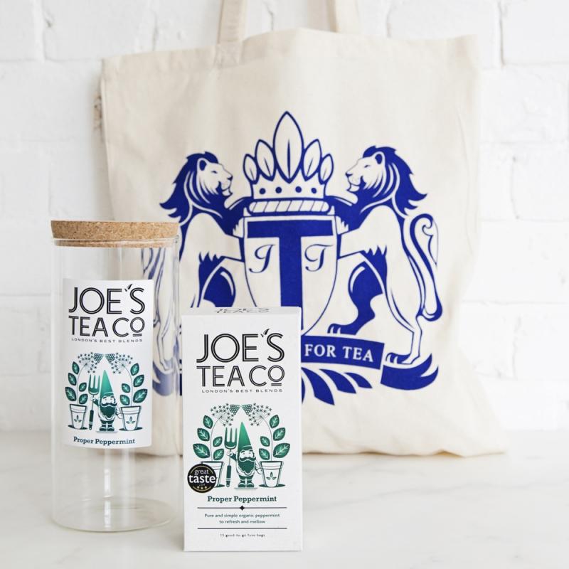 Joe's Tea Co. jar, tea and bag