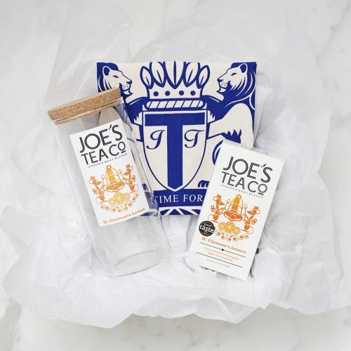Jar, tea and bag for Joe's Tea Co gift set