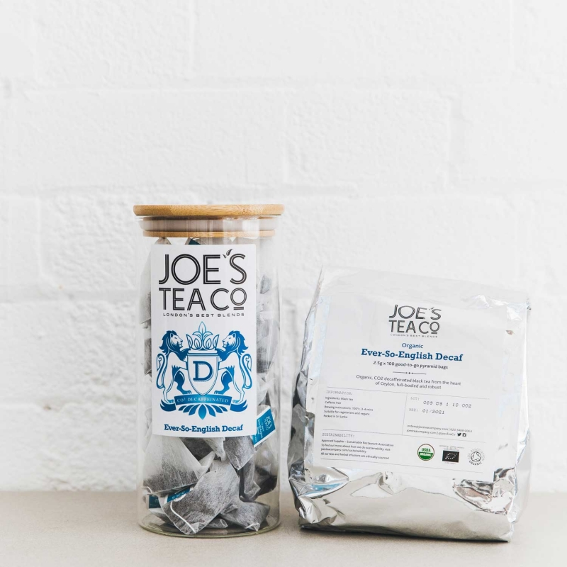 Ever-So-English Decaf jar and 100ct - Joe's Tea Co.