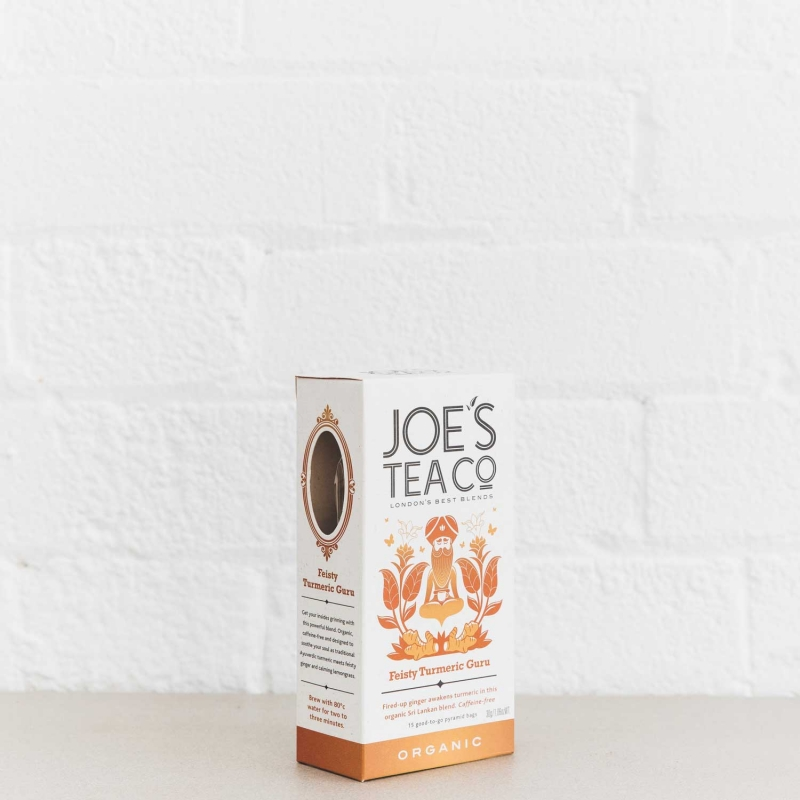 Feisty Turmeric Guru retail side of pack - Joe's Tea Co.