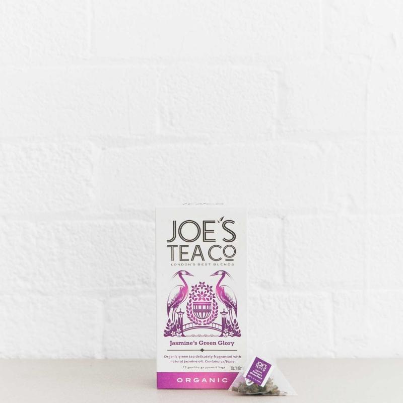 Jasmine's Green Glory retail front of pack with pyramid bag - Joe's-Tea-Co.