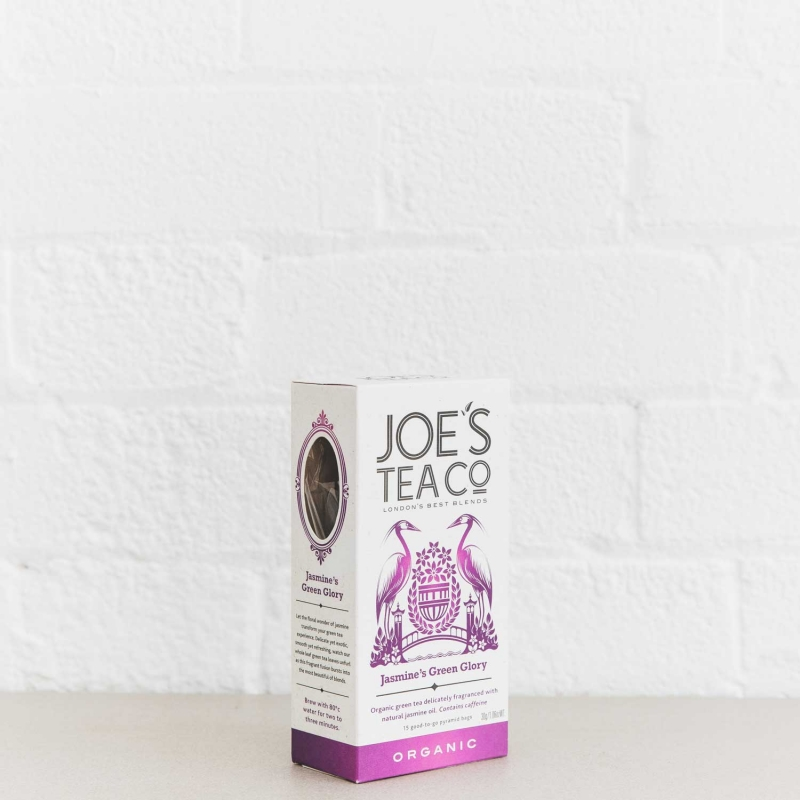 Jasmine's Green Glory retail side of pack - Joe's Tea Co.
