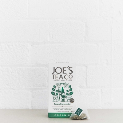 Proper Peppermint retail front of pack with pyramid bag - Joe's-Tea-Co.