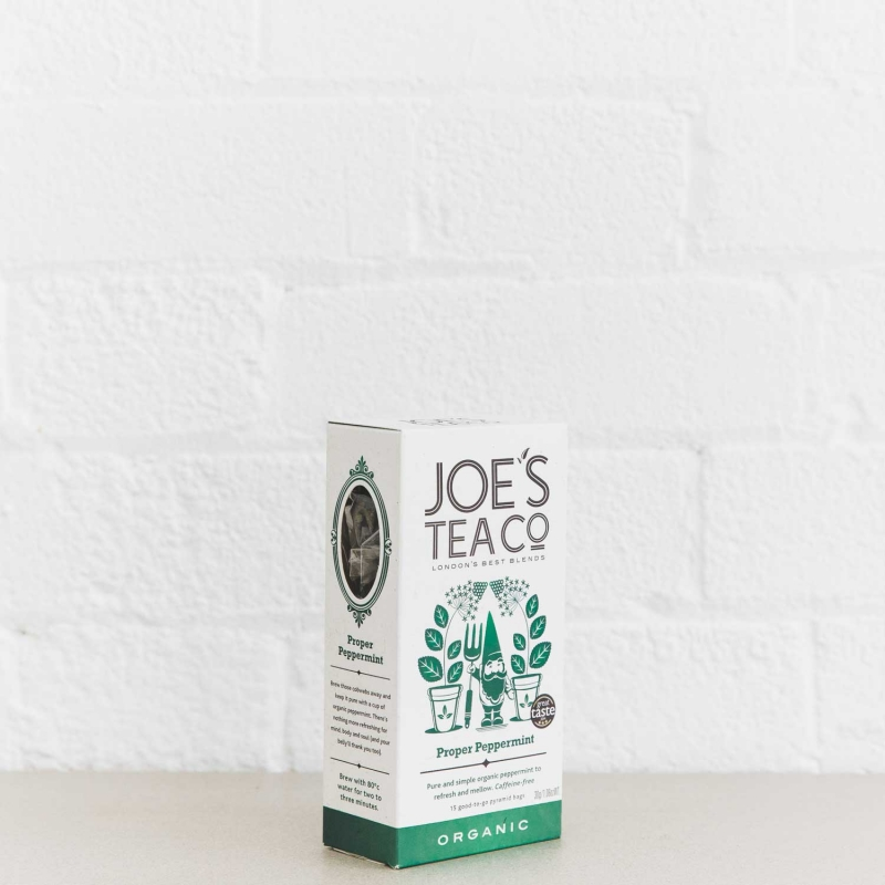 Proper Peppermint retail side of pack - Joe's Tea Co.