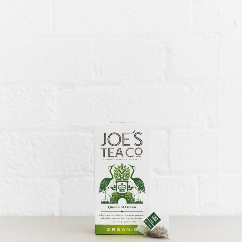Queen of Green retail front of pack with pyramid bag - Joe's-Tea-Co.