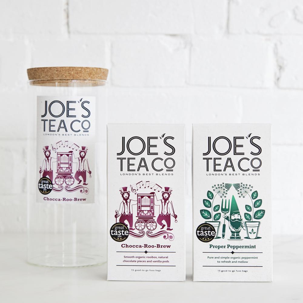 Joe's Tea Co. jar and two teas