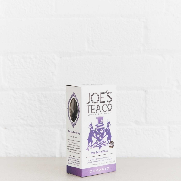 The Earl of Grey retail side of pack - Joe's Tea Co.