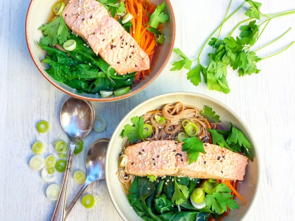 tea poached salmon