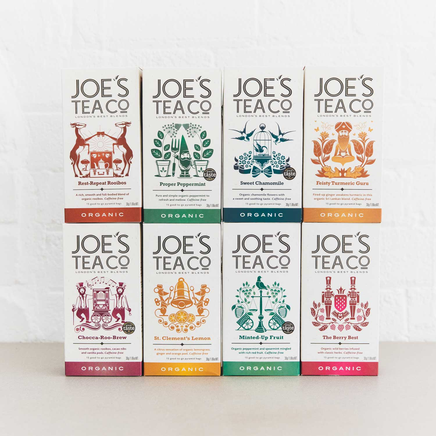 Herbal family retail front of pack - Joe's Tea Co.
