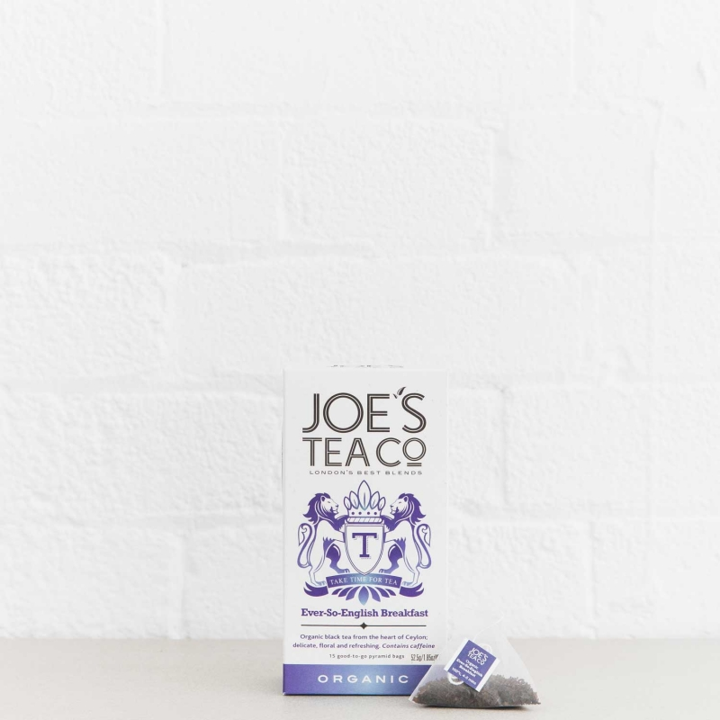 Ever-So-English Breakfast retail front of pack with pyramid bag - Joe's-Tea-Co.