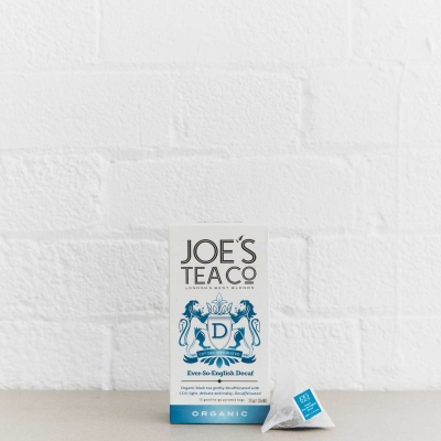 Ever-So-English Decaf retail front of pack with pyramid bag - Joe's-Tea-Co.