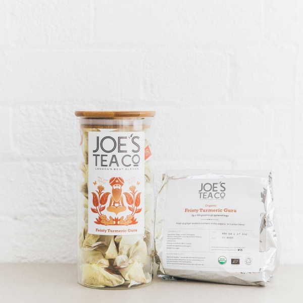 Feisty Turmeric Guru jar and 100ct - Joe's Tea Co.