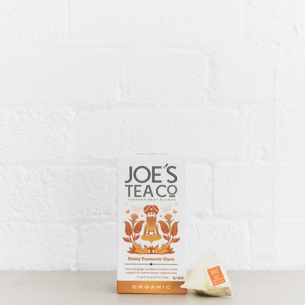 Feisty Turmeric Guru retail front of pack with pyramid bag - Joe's-Tea-Co.