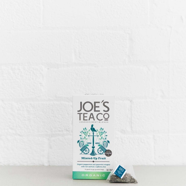 Minted-Up Fruit retail front of pack with pyramid bag - Joe's-Tea-Co.