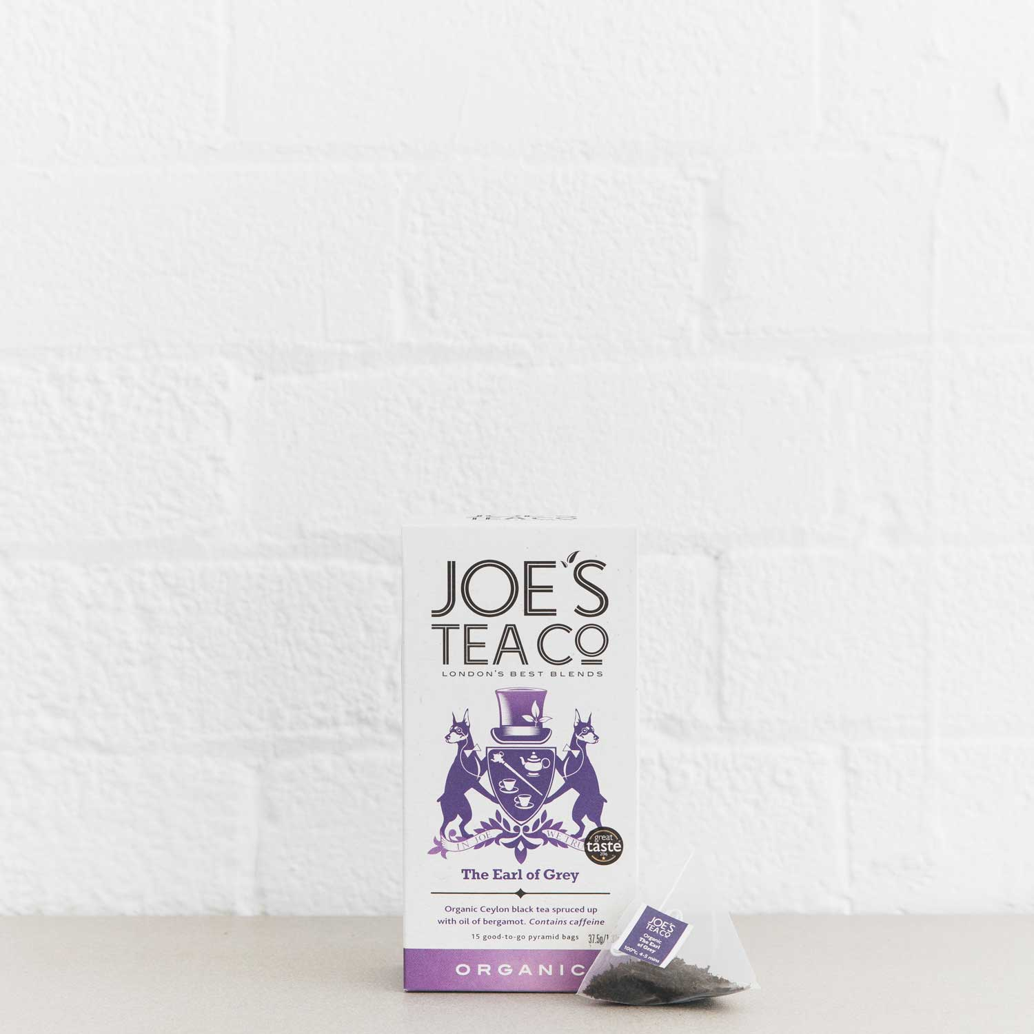 The Earl of Grey retail front of pack with pyramid bag - Joe's-Tea-Co