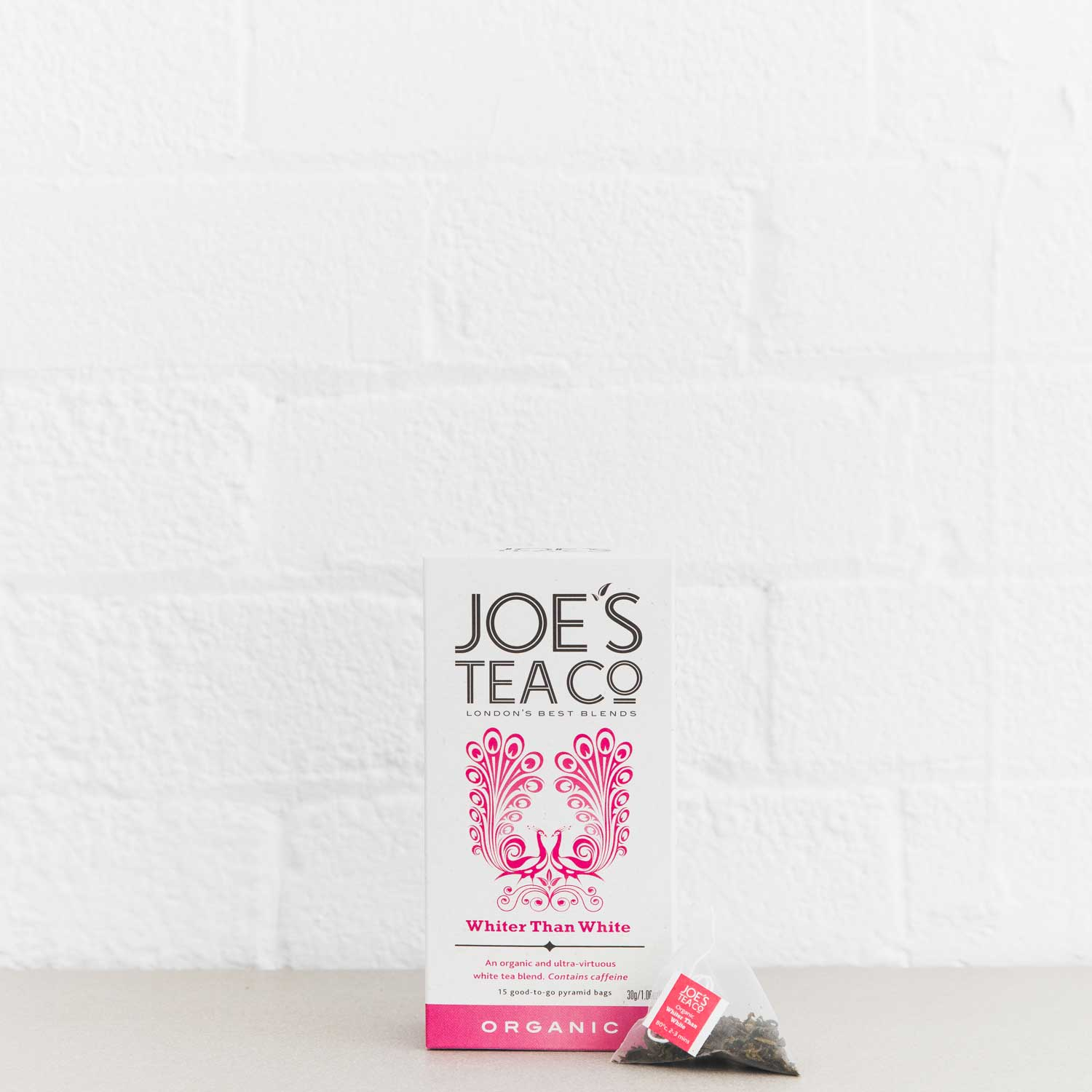 Whiter Than White retail front of pack with pyramid bag - Joe's-Tea-Co.